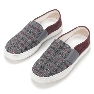 Chanel Tweed and Suede Slip-On Sneakers