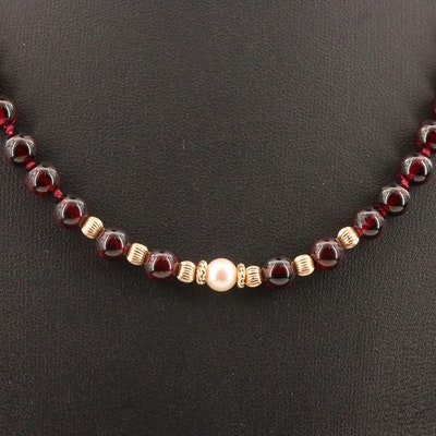 Garnet, Pearl and 14K Beaded Necklace