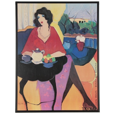 "Offset Lithograph after Itzchak Tarkay ""Tea Time,"" Late 20th Century"