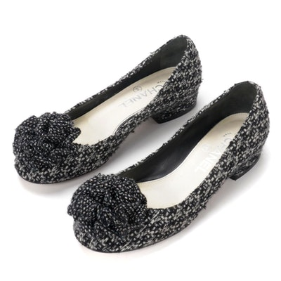 Chanel Camellia Flower Black/White Tweed Low-Heeled Flats
