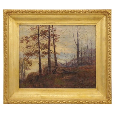 Autumn Landscape Oil Painting, 19th Century