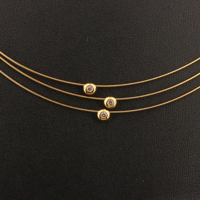 Ross-Simons 14K Cable Wire Choker Necklace with Bezel Set Diamonds