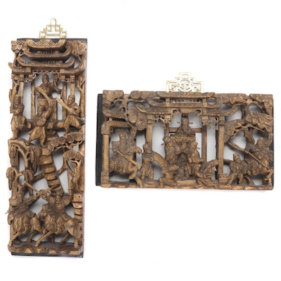 Chinese Gilt Wood-Carved Scenic Panels