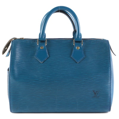 Louis Vuitton Speedy 25 in Toledo Blue Epi and Smooth Leather