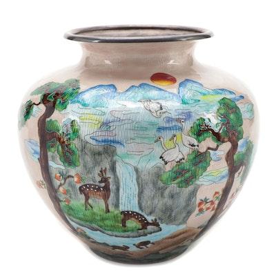 Korean Cloissoné Enameled Fine Silver Vase with Waterfall Scene
