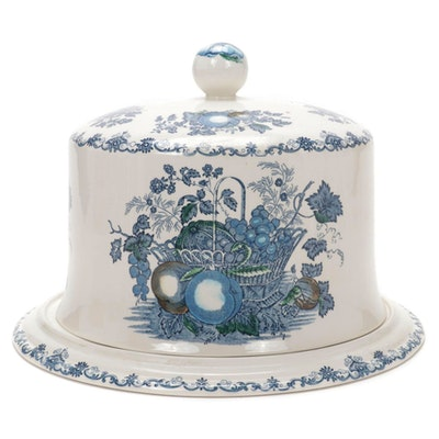 "Mason's Blue Transferware ""Fruit Basket"" Ironstone Covered Cake Plate"