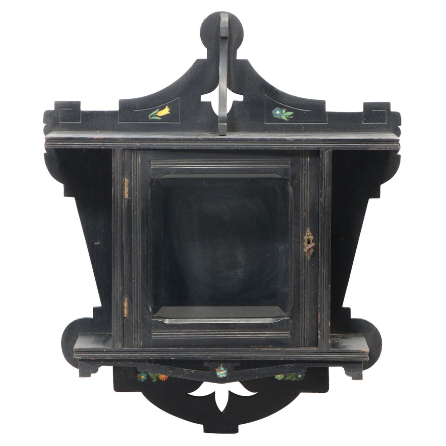 American Aesthetic Movement Ebonized & Floral-Decorated Hanging Display Cabinet