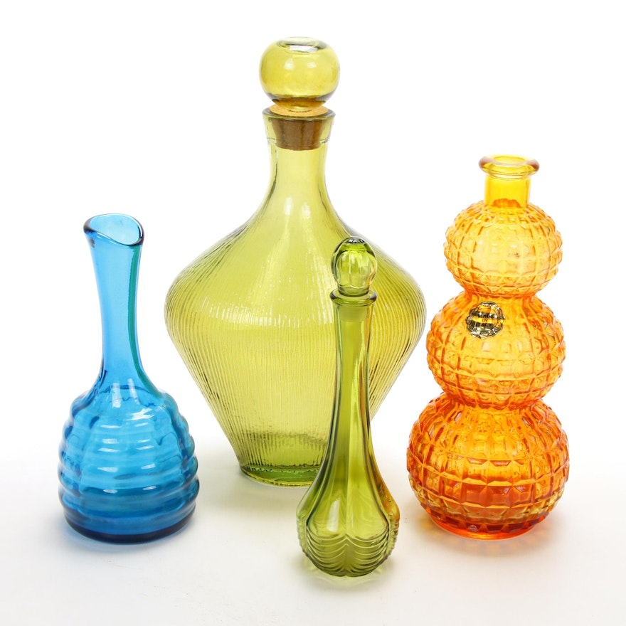 Pressed Glass Vases, Decanter, and Perfume Bottle