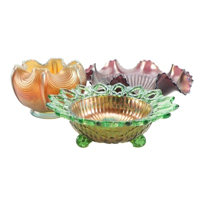 "Northwood ""Wild Rose"" and Other Carnival Glass Bowls, Early 20th Century"