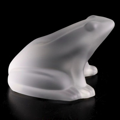 Baccarat Frosted Crystal Frog Figurine
