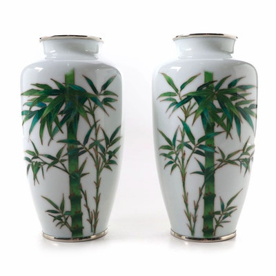 Pair of Japanese White Cloisonné Bamboo Flower Vases