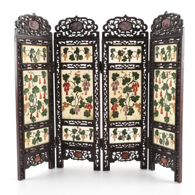 East Asian Carved Amethyst, Carnelian, Serpentine and Rosewood Table Top Screen