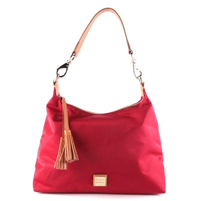 Dooney & Bourke Juliette Tassel Hobo Bag in Red Nylon with Tan Leather Trim