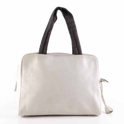 Prada Ivory Smooth Leather Top Handle Bag with Grosgrain Handles