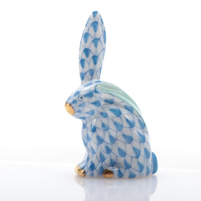 "Herend Blue Fishnet ""Miniature Rabbit with One Ear Up"" Porcelain Figurine"