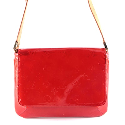 Louis Vuitton Thompson Street Bag in Red Monogram Vernis with Leather Trim