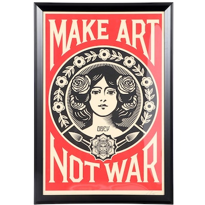"Shepard Fairey Offset Print ""Make Art Not War,"" 2020"