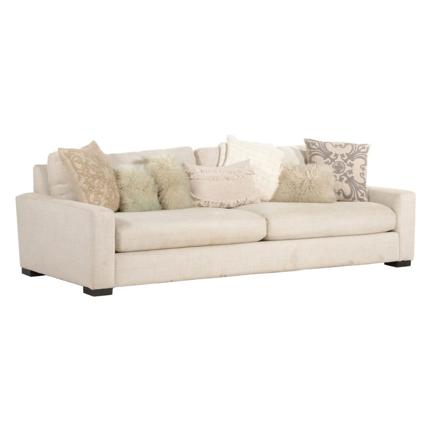 Contemporary Beige Sofa with Throw Pillows