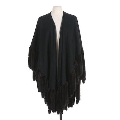 Mink Fur Trimmed Black Wool Cape