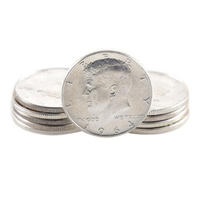 Ten 1964 Uncirculated Kennedy Silver Half Dollars