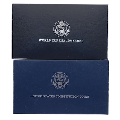 1987 and 1994 US Mint Commemorative Silver Dollars