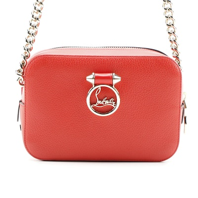 Christian Louboutin Mini Rubylou Crossbody Bag in Red Grained Leather