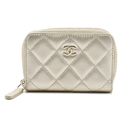 Chanel CC Small Zip Coin Purse in Metallic Quilted Lambskin