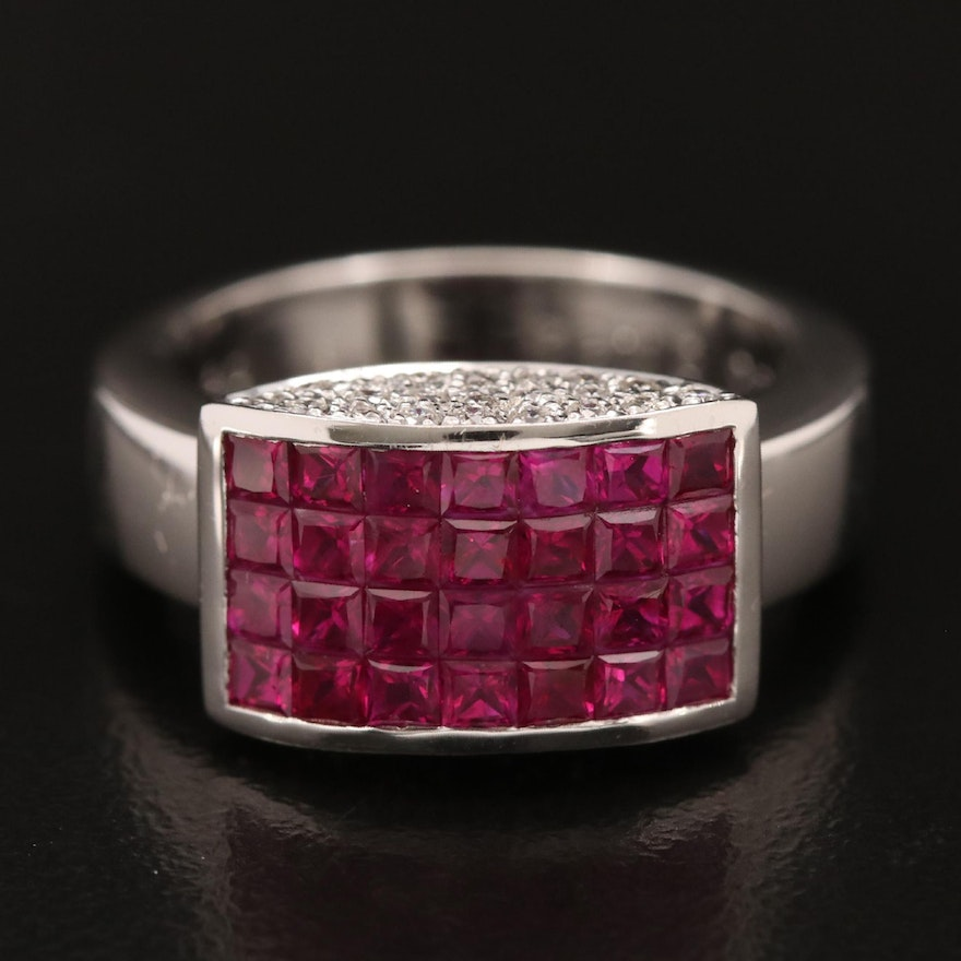 18K Invisible Set Ruby and Diamond Ring