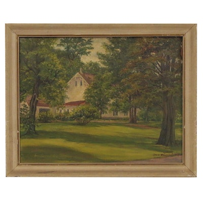 Lexie W. Armstrong Oil Painting of Suburban House, Late 20th Century