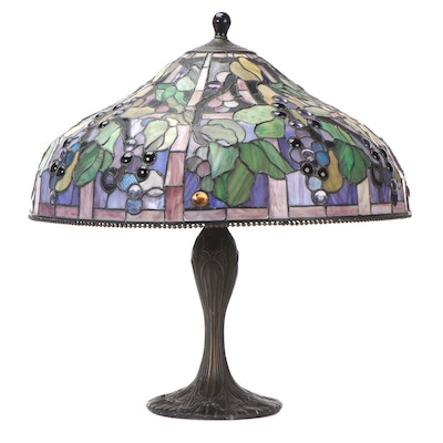 Art Nouveau Style Cast Metal Table Lamp with Slag Glass Berries and Vines Motif