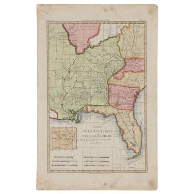 """Rigobert Bonne Hand-Colored Map Engraving """"Carte De La Louisiane et...,"""" 1787"""
