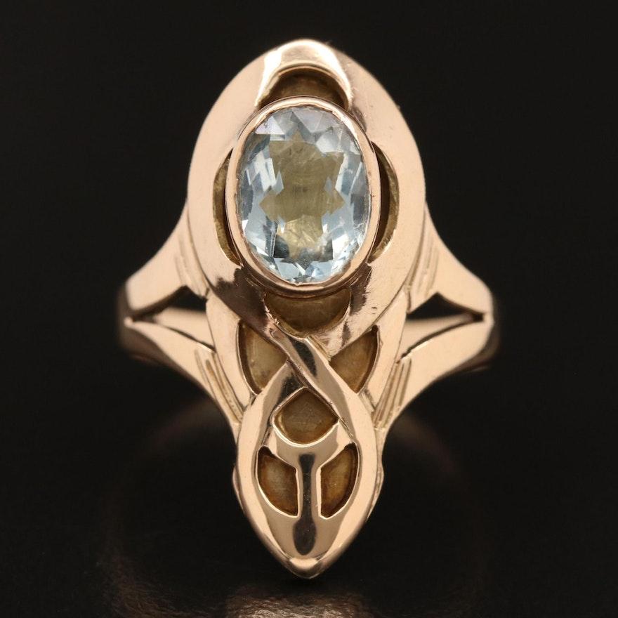 Vintage 10K Oval Faceted Aquamarine Ring