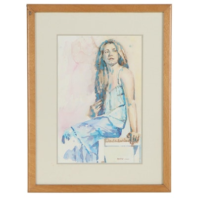 Raymond Zaplatar Figural Watercolor Painting, 2014