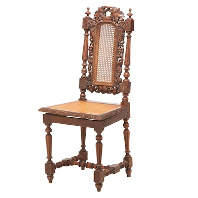 Jacobean Revival Carved Oak Side Chair, Late 19th/Early 20th Century