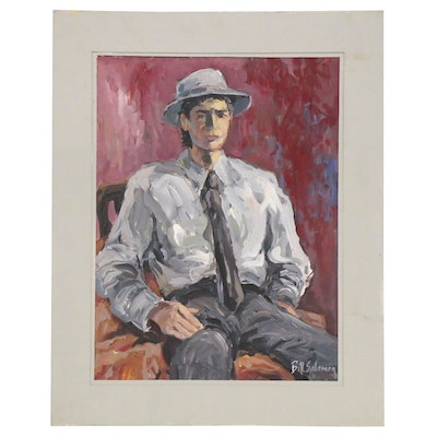 Bill Salamon Portrait Acrylic Painting, Late 20th Century
