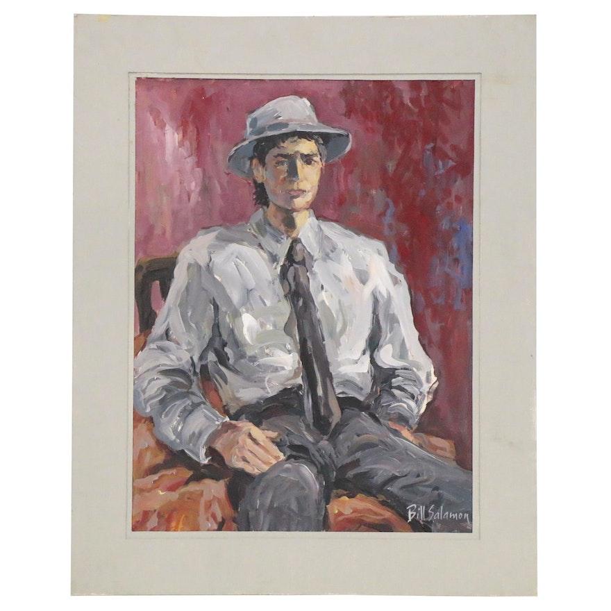 Bill Salamon Portrait Acrylic Painting, Late 20th Century