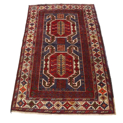 4' x 6'5 Hand-Knotted Turkish Kazak Wool Rug