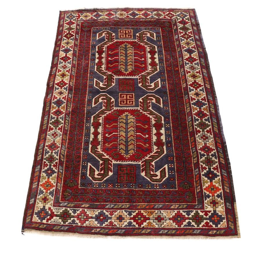 4' x 6'5 Hand-Knotted Turkish Kazak Wool Rug