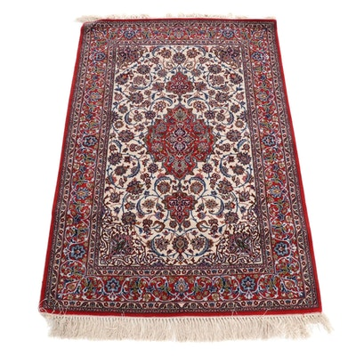 3'8 x 5'10 Hand-Knotted Tabriz Silk and Wool Rug