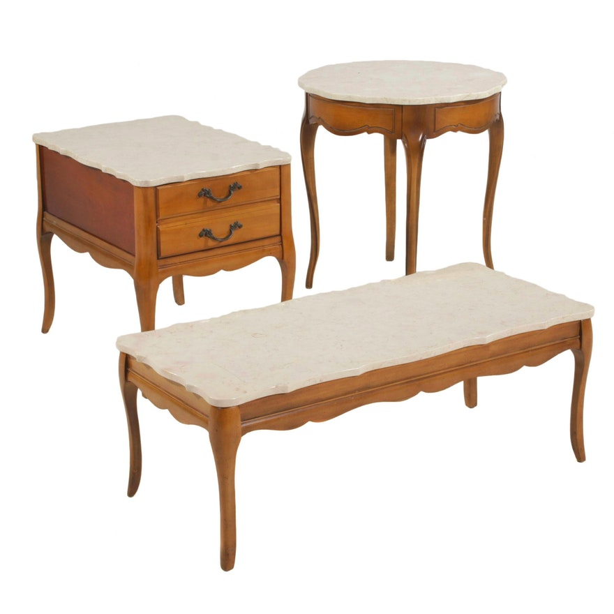 French Provincial Stone Top Coffee Table, Side Table, and Center Table