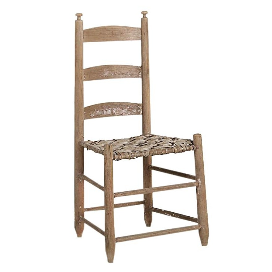 American Primitive Mushroom Finial Ladderback Chair, Late 19th/Early 20th C.