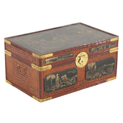Chinese Style Trunk with Woven Bamboo Panels, 21st Century