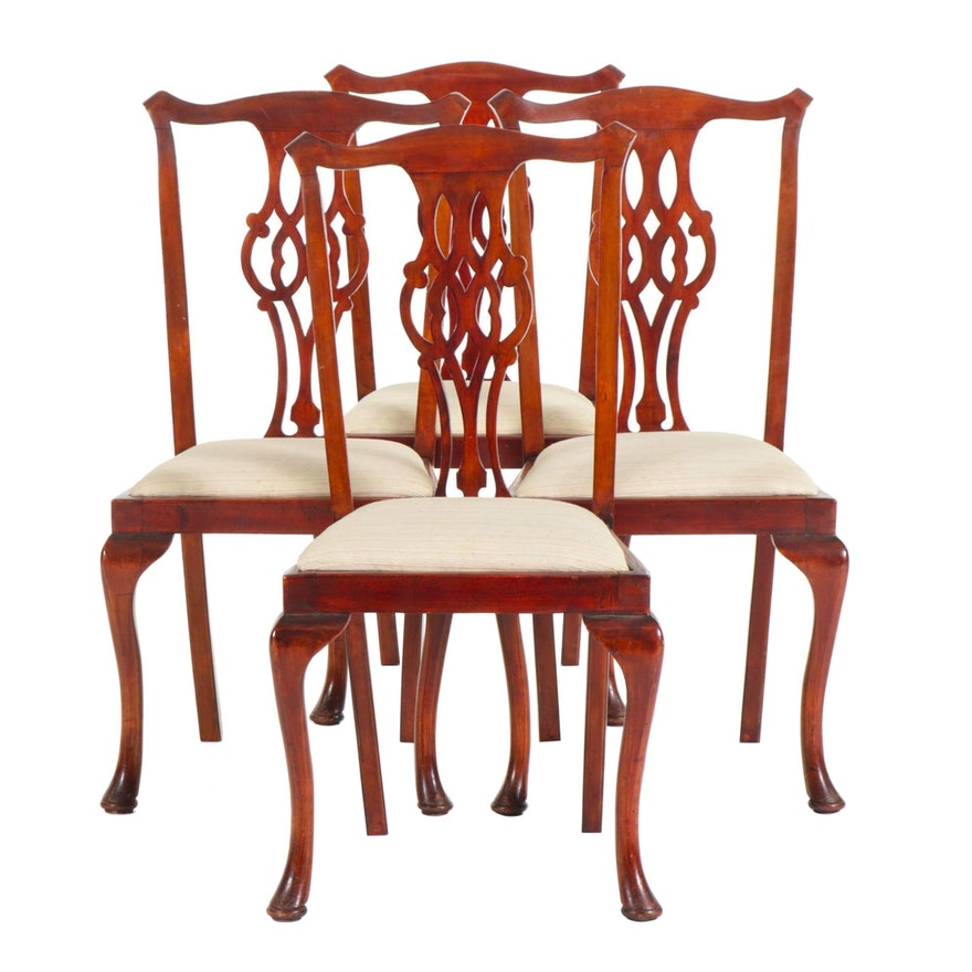 Four Chippendale Style Mahogany Dining Chairs, Late 19th Century