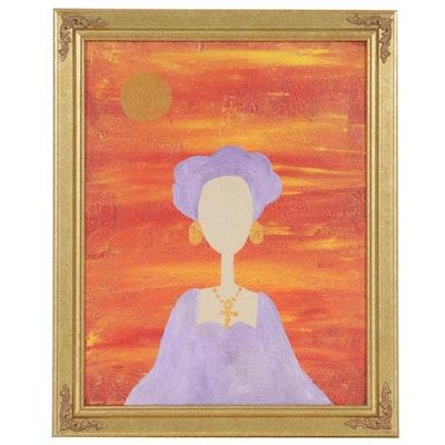 Amir Rashid Portrait Oil Painting of Woman with Ankh