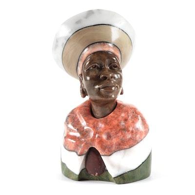 Paul Kgaile Verdite and Multi-Stone Bust of Zulu Woman