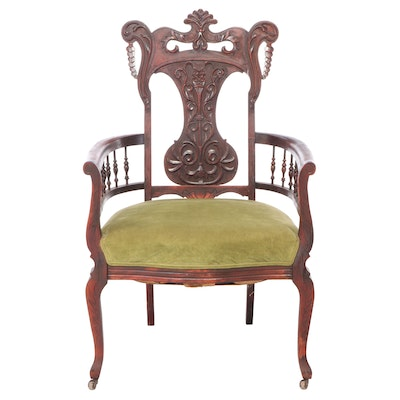American Mahogany-Stained Birch Armchair, circa 1900