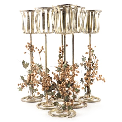 Gilt Metal Votive Holders with Grape Cluster Motif