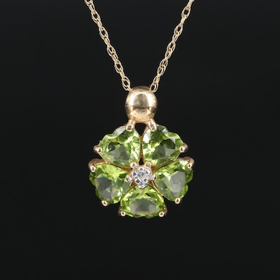 14K Peridot and Diamond Pendant Necklace