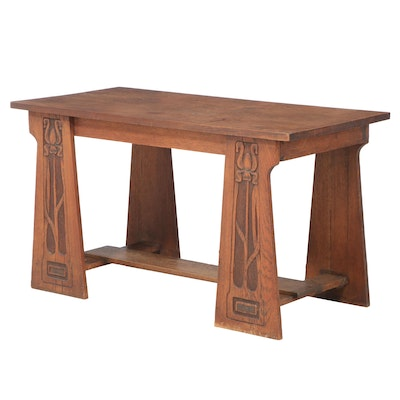 Arts and Crafts Carved Oak Table, Early 20th Century