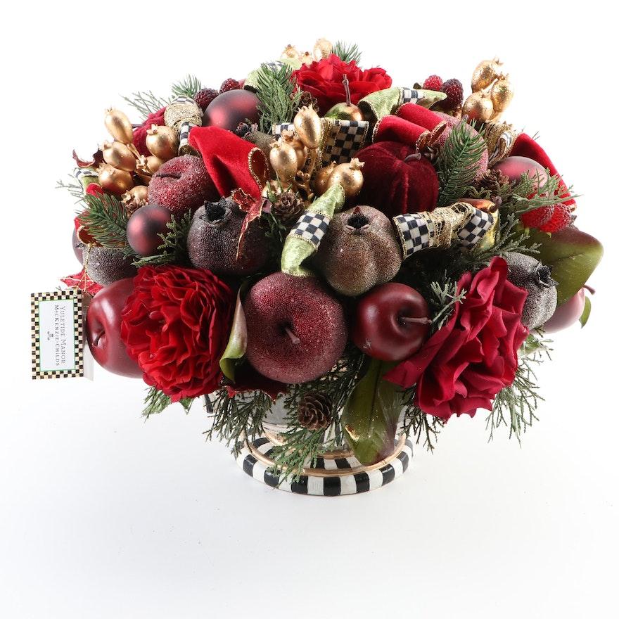 "MacKenzie-Childs ""Yuletide Manor"" Christmas Floral Centerpiece"